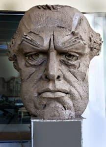 Етап глина на маската на Борис Христов от скулптора Цвятко Сиромашки