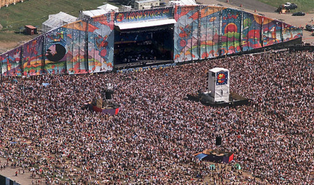 Aerial view of the huge Woodstock '99 crowd in front of the main stage at the former Griffiss Air Force Base in Rome, N.Y. David Lassman / The Post-Standard